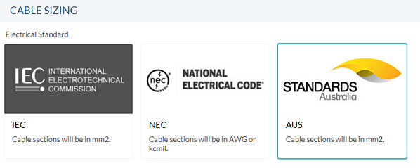 Australian cable sizing standard